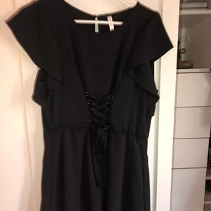 black dress w/ lace up front